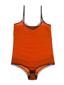 Изчистено дамско боди в оранжев цвят 1585 артикулно отпред
