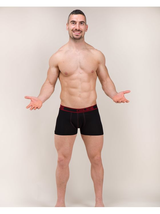 Черни мъжки боксерки с външен Ex ластик  0501 на модел