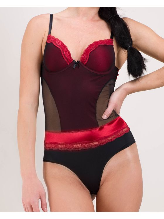 Елегантно дамско боди в червен цвят 1584 на модел отпред