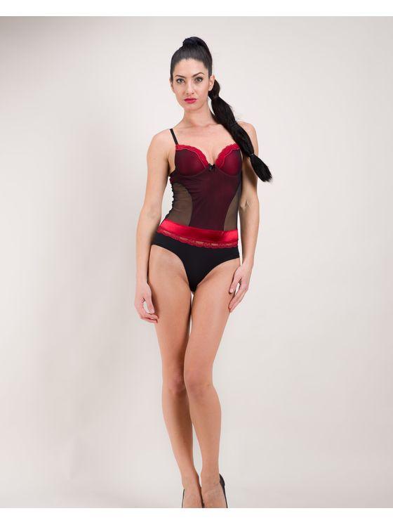 Елегантно дамско боди в червен цвят 1584 на модел