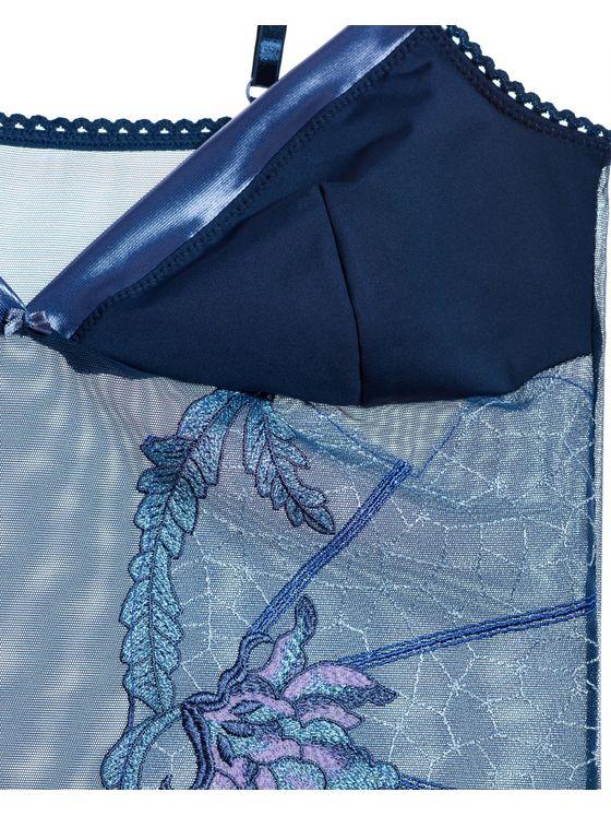 Елегантно дамско боди в синьо с флорален мотив 1682 детайлна снимка