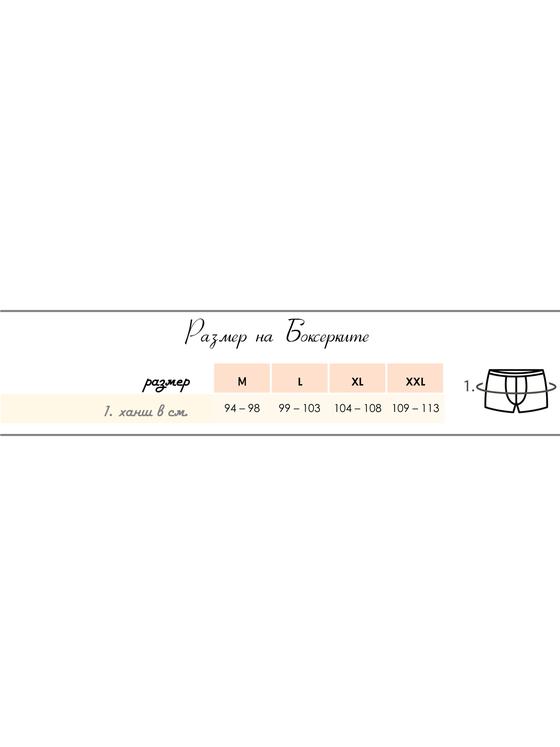 Мъжки боксерки графит с шарен вътрешен ластик 0503 размерна таблица