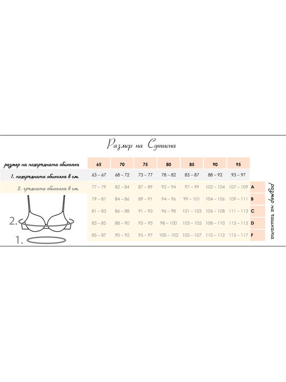 Дамски бял сутиен 'B' чашка  1615 размерна таблица