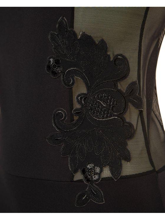 Луксозно черно боди 1584 детайлна снимка