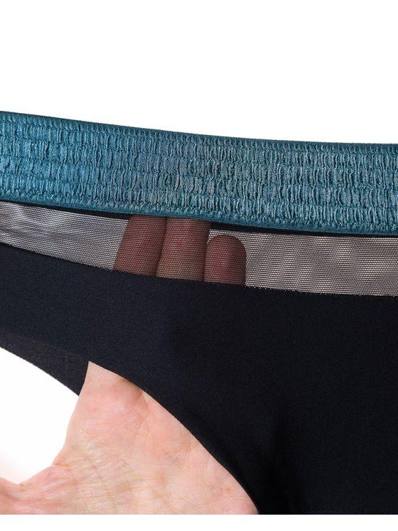 Бикини Лазерно рязани, 1704, Черно тюркоазен ластик 1704 детайлна снимка